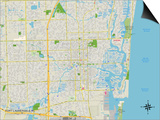 Political Map of Fort Lauderdale, FL Posters