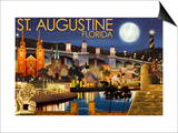 St. Augustine, Florida - Night Scene Posters by  Lantern Press