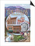Fort Collins, Colorado Scenes Print by  Lantern Press