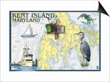 Kent Island, Maryland - Nautical Chart Prints by  Lantern Press