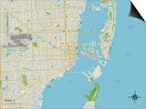 Political Map of Miami, FL Art