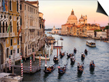 Flotilla of Gondolas Heading Toward Chiesa Di Santa Maria Della Salute in Early Evening Prints by Christopher Groenhout