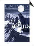 Wolves and Full Moon - Death Valley National Park Prints by  Lantern Press