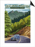 Chimney Tops and Road - Great Smoky Mountains National Park, TN Posters by  Lantern Press