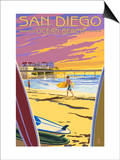San Diego, California - Ocean Beach Prints by  Lantern Press