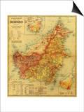 Borneo - Panoramic Map Prints by  Lantern Press