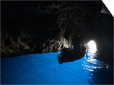 Rowboat Inside Blue Grotto Poster by Holger Leue