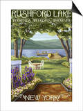 Rushford Lake, New York Scene Prints by  Lantern Press