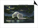 Washington DC, Exterior View of the Jefferson Memorial at Night Poster by  Lantern Press