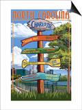 Charlotte, North Carolina - Signpost Destinations Art by  Lantern Press