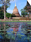 The Lotus Pond and Stupa in Sukhothai Historical Park, Thailand Art by Glenn Beanland