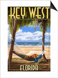 Key West, Florida - Hammock Scene Print by  Lantern Press