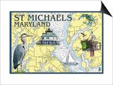 St. Michaels, Maryland - Nautical Chart Prints by  Lantern Press