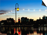 Lake Merritt with Lights at Sunset with City in Background, Oakland, California Posters by John Elk III