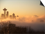 Morning Fog around Skyline with Sihouette of Space Needle and City Buildings Art by Aaron McCoy