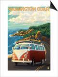 Washington Coast Drive with Lighthouse Prints by  Lantern Press