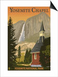 Yosemite Chapel and Yosemite Falls - California Posters by  Lantern Press
