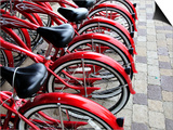 Red Bicycles for Hire Art by David Ryan