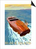 Block Island, Rhode Island, Chris Craft Boat Kunstdrucke von  Lantern Press
