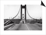 Tacoma, Washington - November 7, 1940 - Tacoma Narrows Bridge - Man on Bridge Posters by  Lantern Press