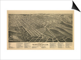 Winston-Salem, North Carolina - Panoramic Map Prints by  Lantern Press