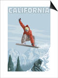California - Snowboarder Jumping Poster by  Lantern Press