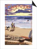 Cape Cod, Massachusetts - Sunset and Beach Print by  Lantern Press