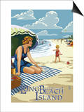 Long Beach Island, New Jersey Beach Scene Art by  Lantern Press