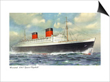 View of Cunard Ocean Liner Queen Elizabeth Print by  Lantern Press