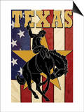 Texas - Cowboy with Bucking Bronco Posters by  Lantern Press