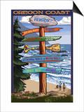 Oregon Coast Destinations Poster by  Lantern Press