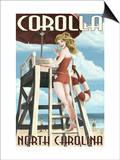 Corolla, North Carolina - Pinup Girl Lifeguard Posters by  Lantern Press