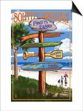 Pawleys Island, South Carolina - Sign Destinations Poster by  Lantern Press