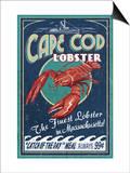 Cape Cod, Massachusetts - Lobster Print by  Lantern Press