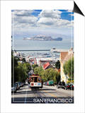 San Francisco, California - Cable Car and Alcatraz Island Prints by  Lantern Press