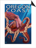 Oregon Coast - Red Octopus Posters van  Lantern Press