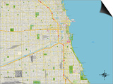 Political Map of Chicago, IL Prints