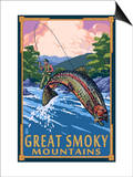 Angler Fly Fishing Scene - Great Smoky Mountains Print by  Lantern Press
