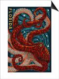 Octopus Paper Mosaic - Florida Posters van  Lantern Press