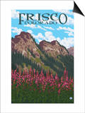 Frisco, Colorado - Fireweed and Mountains Prints by  Lantern Press
