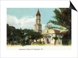 St. Augustine, Florida - View of the Cathedral from the Plaza Posters by  Lantern Press