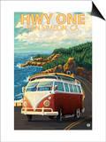 San Simeon, CA - VW Van Coastal Drive Posters