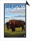 Buffalo Scene - New Mexico Posters by  Lantern Press