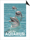 Visit the Aquarium, Dolphins Scene Prints by  Lantern Press