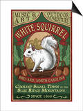 Brevard, North Carolina - White Squirrel Posters by  Lantern Press