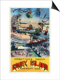Cincinnati, Ohio - Coney Island Amusement Park Greetings Posters av  Lantern Press