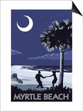 Myrtle Beach, South Carolina - Palmetto Moon Beach Dancers Poster by  Lantern Press