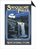 Snoqualmie Falls by Night, Washington Pósters por  Lantern Press