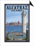 Alcatraz Island and City - San Francisco, CA Art by  Lantern Press