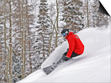 Snowboarder Enjoying Deep Fresh Powder at Brighton Ski Resort Prints by Paul Kennedy